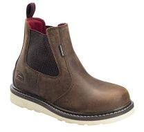 Avenger Wedge Chelsea Mid Soft Toe Waterproof Work Boot (A7510) Brown
